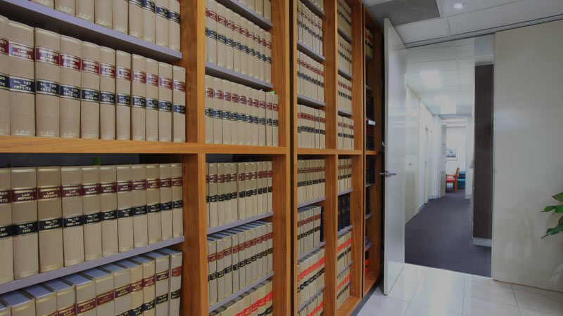 Bookshelf full of law books