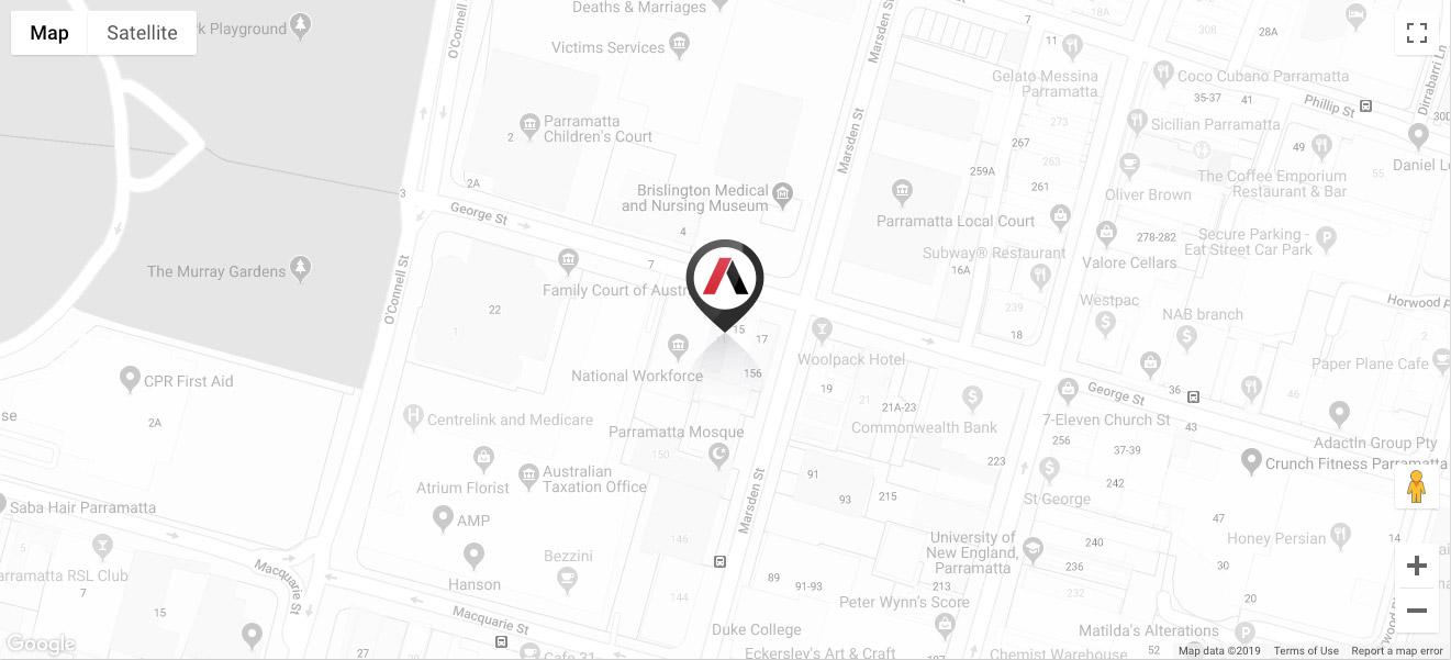 Map to Arthur Phillip Chambers, Parramatta